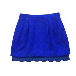 Club Monaco Mini Skirt Cobalt Blue Scalloped Hem 2